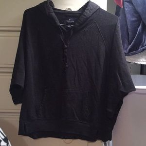 AEO Medium 3/4 Sleeved Charcoal Pullover